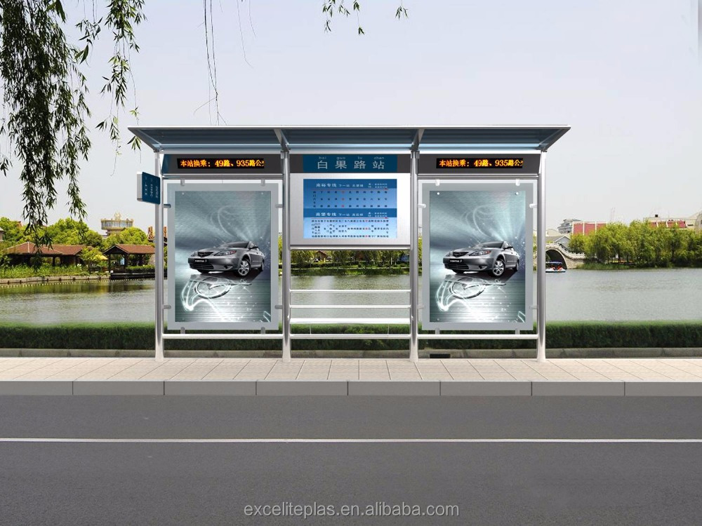 Prefabricated Bus Shelter : Professional modern prefab bus shelter with advertising