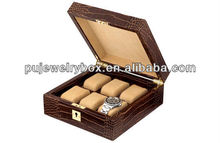 Factory wholesale High quality custom luxury pu leather 6 slots men's wrist watch box