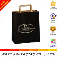factory supply food grade flat paper handles medium 100% recycle bag for shopping