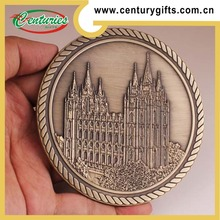 3D rope edge custom soft enamel antique gold-plated coin