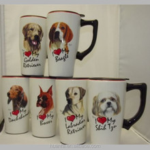 SPOONTIQUES I Love My Dog Series 14 oz. Ceramic Travel Coffee Mug with silicone lid