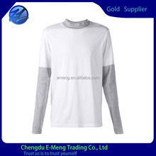 Contrast long sleeves tall collar clothes for men