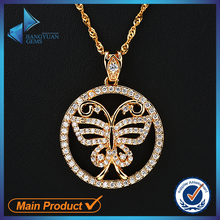 Brass Jewelry Ross Gold Plating Butterfly CZ Pendant