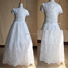 3-Tiered round-Neck Ruched Bodice First Communion Dress fashion embroidery floor length white communion dresses toddler