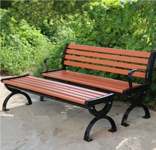 Cast iron frame high loading capacity cheap design plastic indoor wood bench