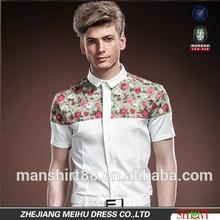 men's lordliness design prints contrast square collar slim fit shirt