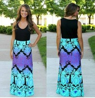 2015 New Elegant Ink Painting Long Chiffon Dress Women Digital Print Dress Summer Dress JH-DR-1638