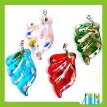 European Charms Pendants Silver Foil Wings Glass Beads