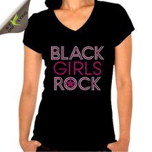 Popular Design Black Girls Rock Rhinestone Transfer T shirts