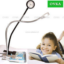 Eye Protection Clip-On LED Desk Lamp Flexible Neck Book light, with USB Port for Home Reading Studying Relaxation