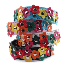 New wholesale 2.5*39CM pet collar small clear colorful flowers personalized dog collar