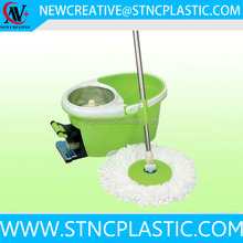 Easy Floor Mop 360 Rotating Green Stainless Steel Microfiber Spining Magic Spin Mop Bucket