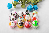 Cute Artificial Food Fake Cupcake with Phone Chain and Decorations on Top For Promotion Gift
