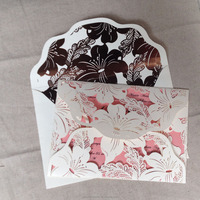 Elegant Lily Blossom Laser Cut Wedding Invitations | Die Cut Foil Printing Envelope
