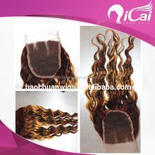 Fashion new arrival peruvian human hair mix color lace closure