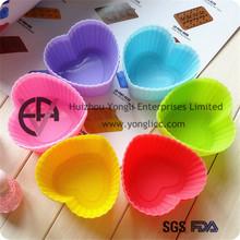 mejor venta flexible en forma de corazón de silicona torta de la taza