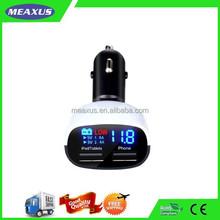Cigarette Lighter Digital LED Voltage/ Current Monitor 12V 24V+4.8A Dual Ports USB Car Charger for iP 6 5S 5C 5 4S 4, iPa, Ipo