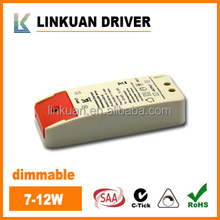 constant current led driver dimmable 6-12W 21-42V 350mA with SAA and C-tick certificate for downlight and panel light