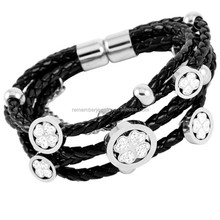 SRB3096 New Fashion Stainless Steel Clover in Round Charm with Braid Black Leather Bracelet