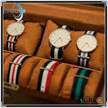 Minimalist 6mm super thin japan movt cheap custom watches nylon