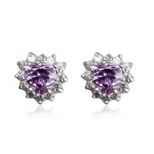 OUXI cheap heart shaped violet 925 sterling Silver&crystal earrings stud for party Y20097