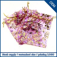 Wholesale 10x15cm Golden Rose Hot Pink Popular Wedding Favour Very Small Gift Bags