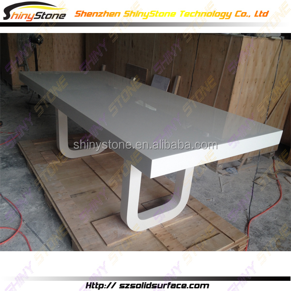 Custom made rectangular shapedl solid surface man made for Custom made marble dining tables