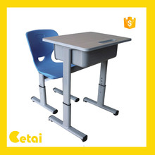 2015 Cheap wooden single student desk and chairs for school furniture