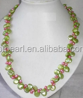 """wholesale 2 rows 18"""" 12mm green coin pearls & irregular pearls necklace"""