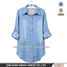 Fashionable European&American style 100%Cotton Light bule Denim/Retro shirt for Women/Ladies S,M,L,XL,XXL