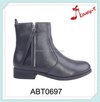 Casual lady hiking boots snake stripe upper factory promotion low heel ankle boots