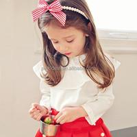Spring brand girls T-shirt Lotus leaf collar leisure nail bead nine points sleeve T-shirt