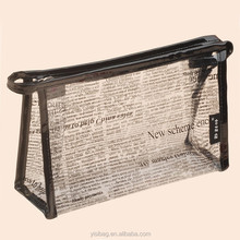 Transparent Plastic Travel Make Up Toiletry Bag With News Paper Printing