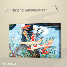 Handmade koi fish painting on canvas,abstract acrylic fish art painting