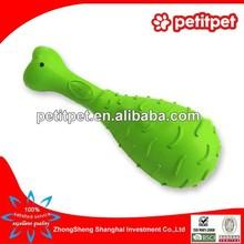 green squeaker chicken shape rubber pet toy
