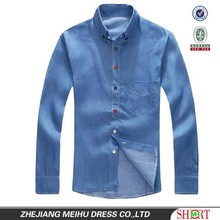 European American style Light blue 100% Organic cotton Denim Retro Cowboy shirt for men with S,M,L,XL,XXL