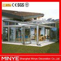 Shanghai supplier folding door &bi folding door, folding patio doors prices with double glazed,glass folding door