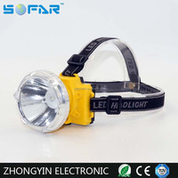 Waterproof ip65 Headlamp 1w plastic LED Headight 3*AA miner Head Lamp