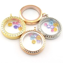 Wholesale 25mm, 30mm round silver Lover's Day floating memory glass locket keyring