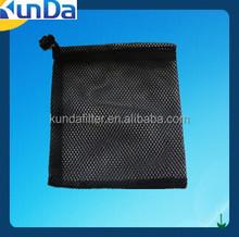 black small mesh bag with drawstring