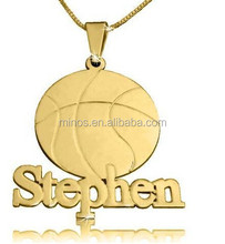 Personalized Nameplate Pendant ,stainless Steel Basketball Nameplate In Gold