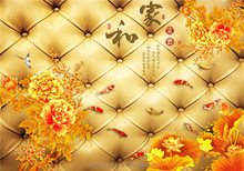 luxury 3d title little fish and yellow lotus flower mural wallpaper for walls decors