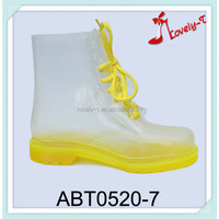 Clear yellow lady low heel boots lace up transparent ankle rain boots