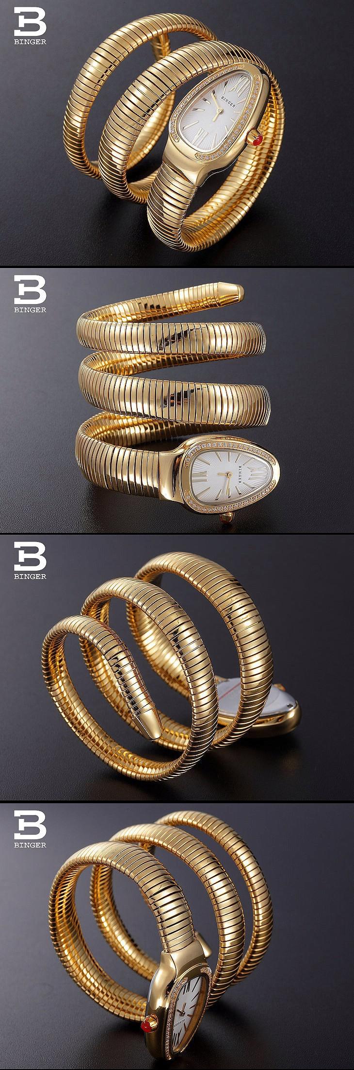 Продвижение Новые Моды женские Часы Бингер Змея Нержавеющей стали Ремешок CZ diamond dial кварцевые часы Горный Хрусталь Наручные Часы