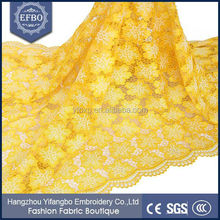 New arrival nigeria party yellow guipure lace fabric/African french chemical lace/Cord lace fabric 5yrds
