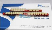 Caliente venta dientes precio de tres pisos de la acrílico dental dientes de resina
