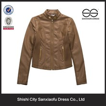 Fashion New Arrival Cheap Lady Leather Jacket Motorcycle