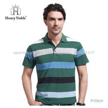 Hombre ropa hecha en China verde rayas hilados teñidos camiseta hombres