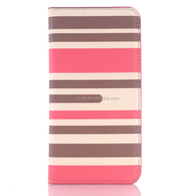 Flip leather case for samsung galaxy s6,stripe pattern wallet type case for samsung galaxy s6, cute korea style case for samsung