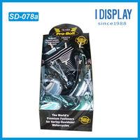 premium fasteners cardboard display with peg hooks for Harley Davidson motorcycles